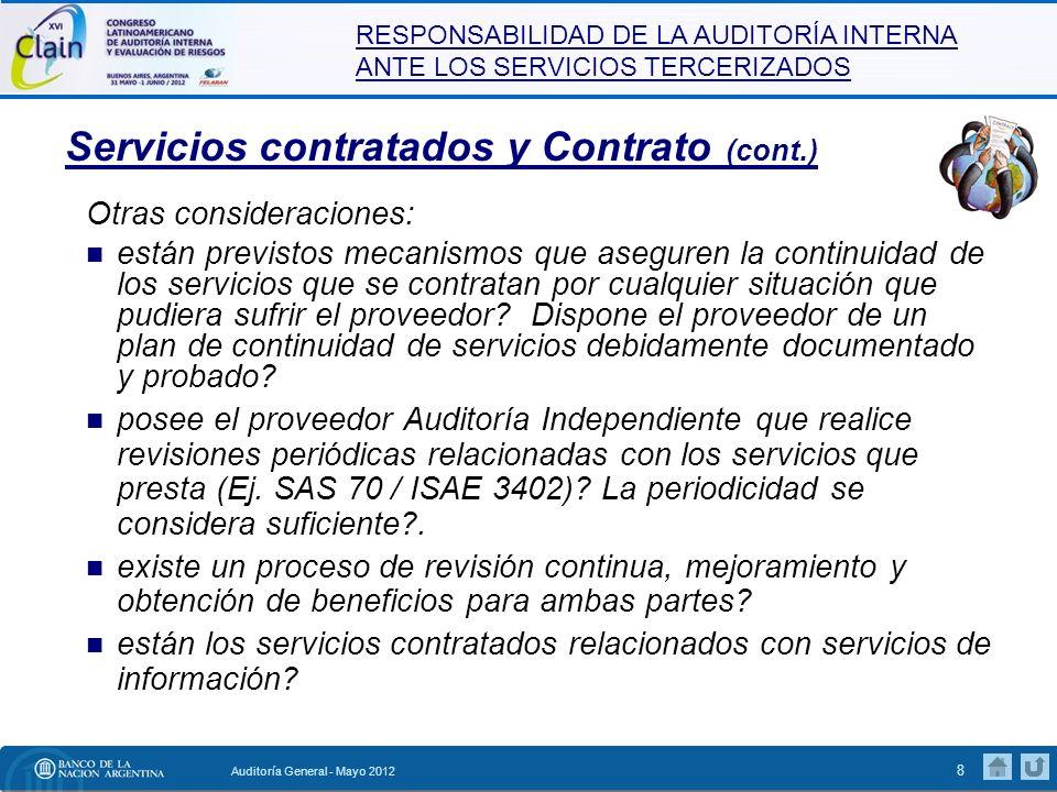 Servicios contratados y Contrato (cont.)