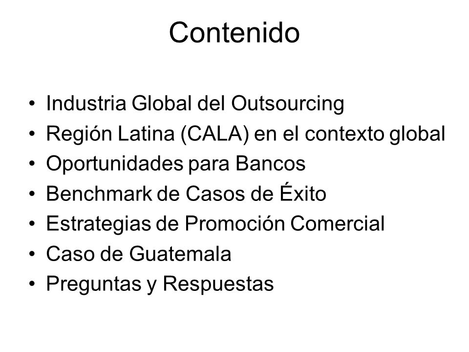 Contenido Industria Global del Outsourcing