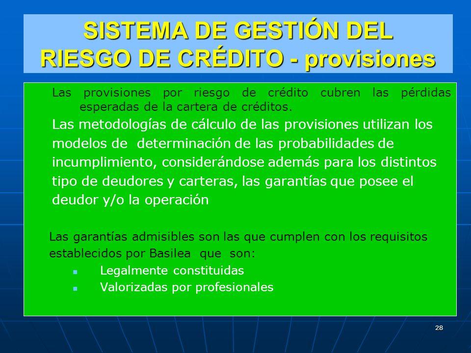 SISTEMA DE GESTIÓN DEL RIESGO DE CRÉDITO - provisiones