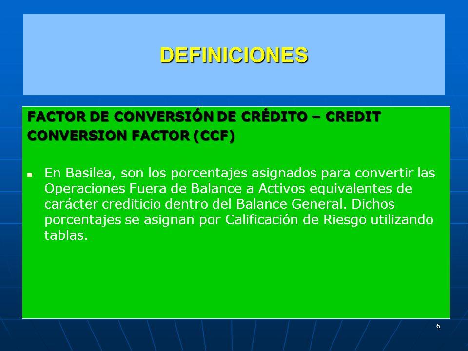 DEFINICIONES FACTOR DE CONVERSIÓN DE CRÉDITO – CREDIT
