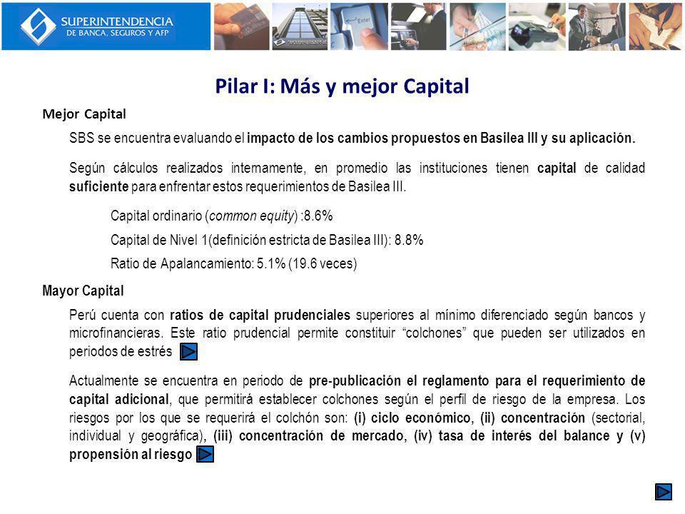 Pilar I: Más y mejor Capital
