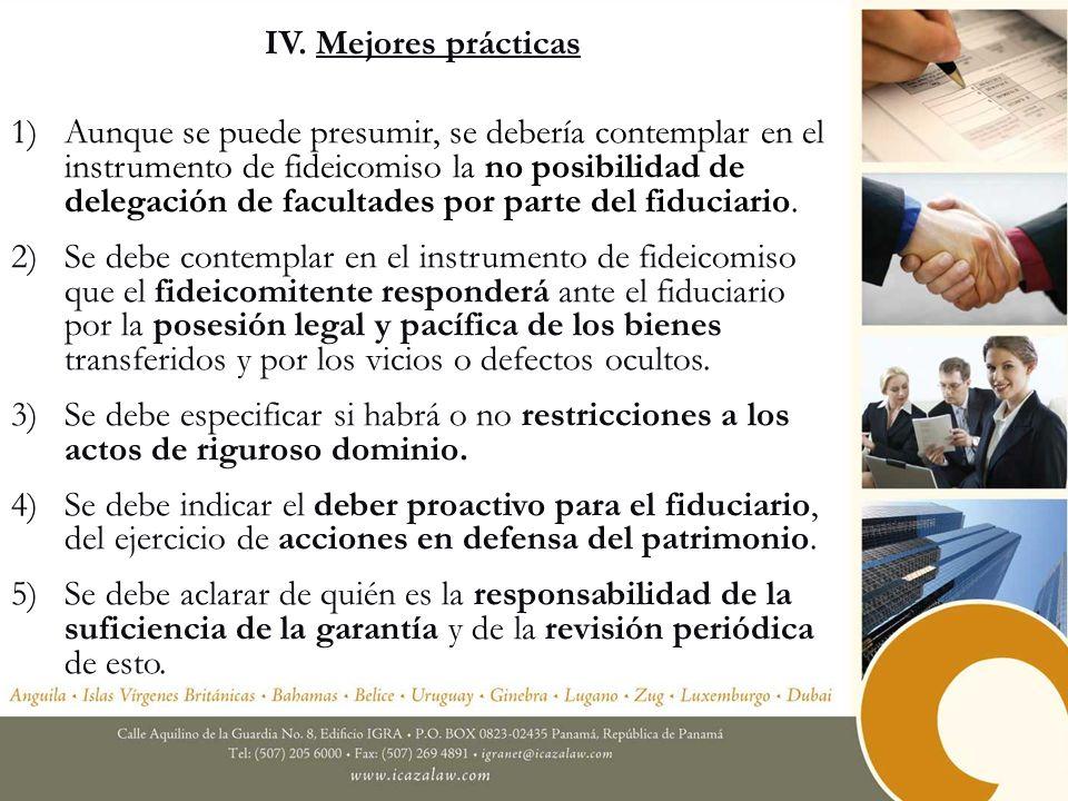 IV. Mejores prácticas