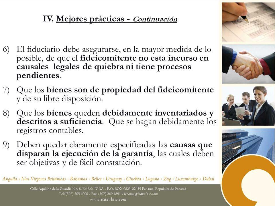 IV. Mejores prácticas - Continuación