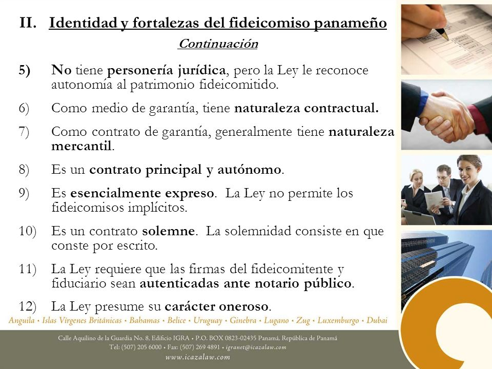 II. Identidad y fortalezas del fideicomiso panameño