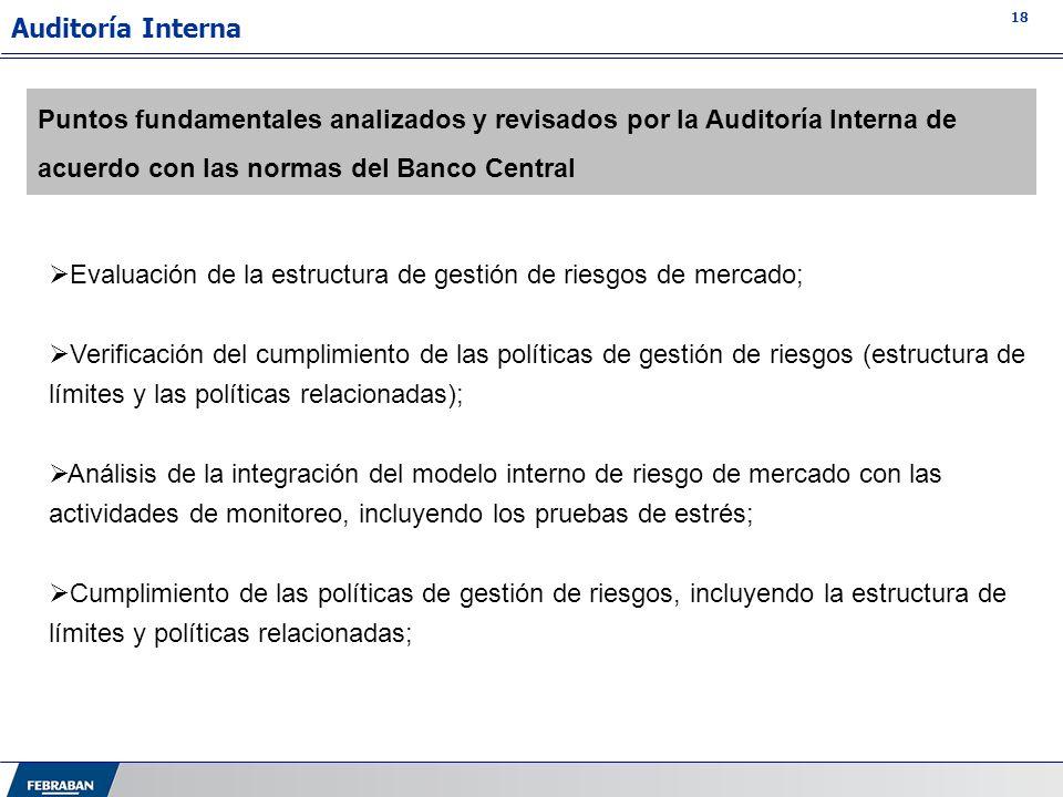 Auditoría InternaPuntos fundamentales analizados y revisados por la Auditoría Interna de acuerdo con las normas del Banco Central.