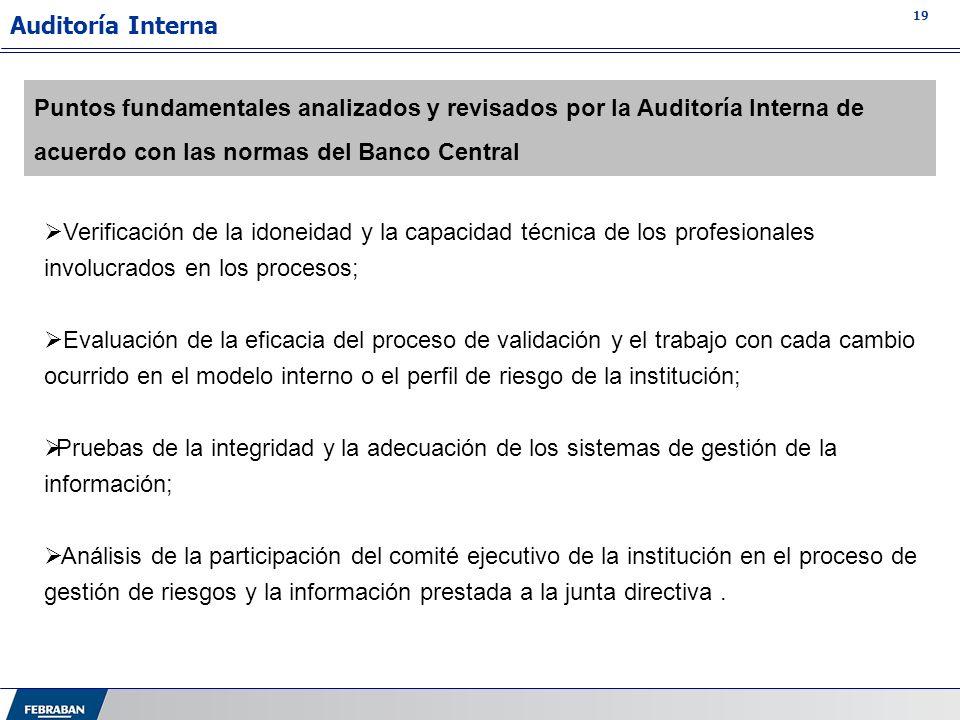 Auditoría Interna Puntos fundamentales analizados y revisados por la Auditoría Interna de acuerdo con las normas del Banco Central.