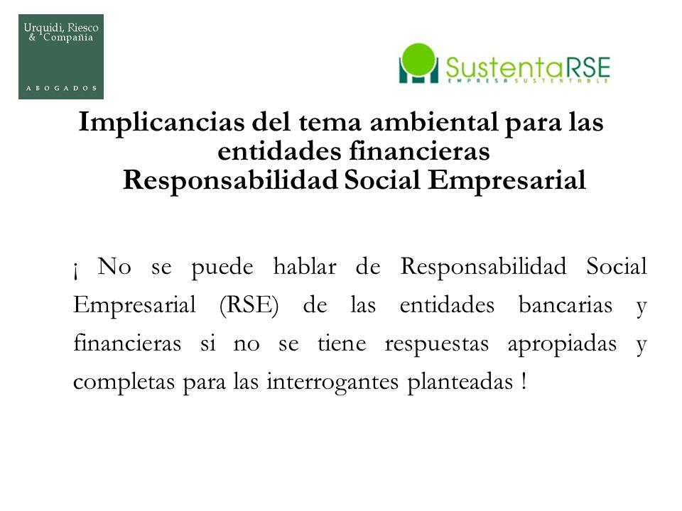 Implicancias del tema ambiental para las entidades financieras Responsabilidad Social Empresarial
