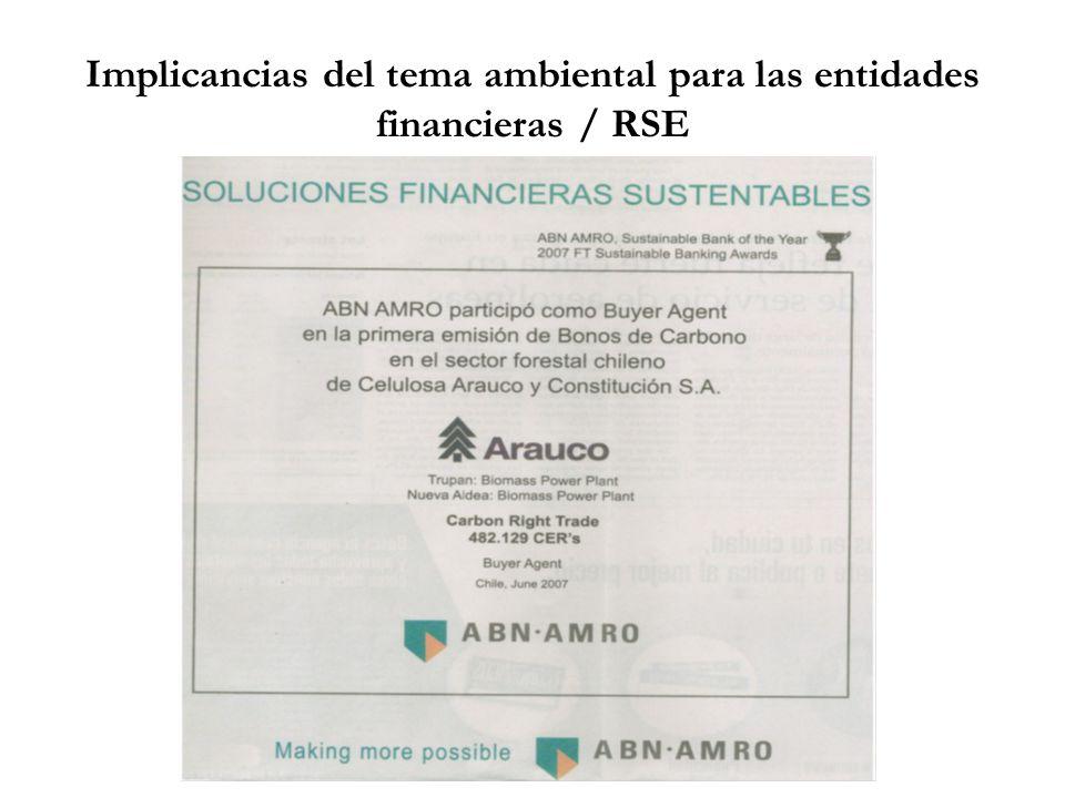 Implicancias del tema ambiental para las entidades financieras / RSE