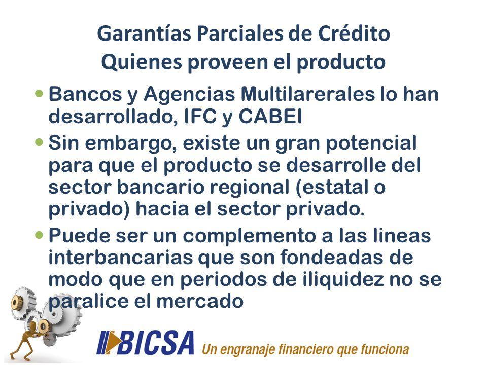 Garantías Parciales de Crédito Quienes proveen el producto
