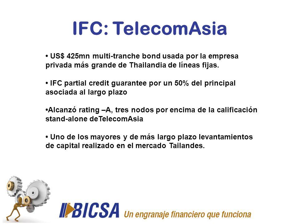 IFC: TelecomAsia• US$ 425mn multi-tranche bond usada por la empresa privada más grande de Thailandia de líneas fijas.