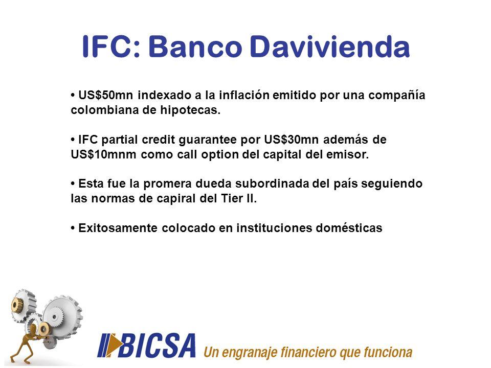 IFC: Banco Davivienda • US$50mn indexado a la inflación emitido por una compañía colombiana de hipotecas.