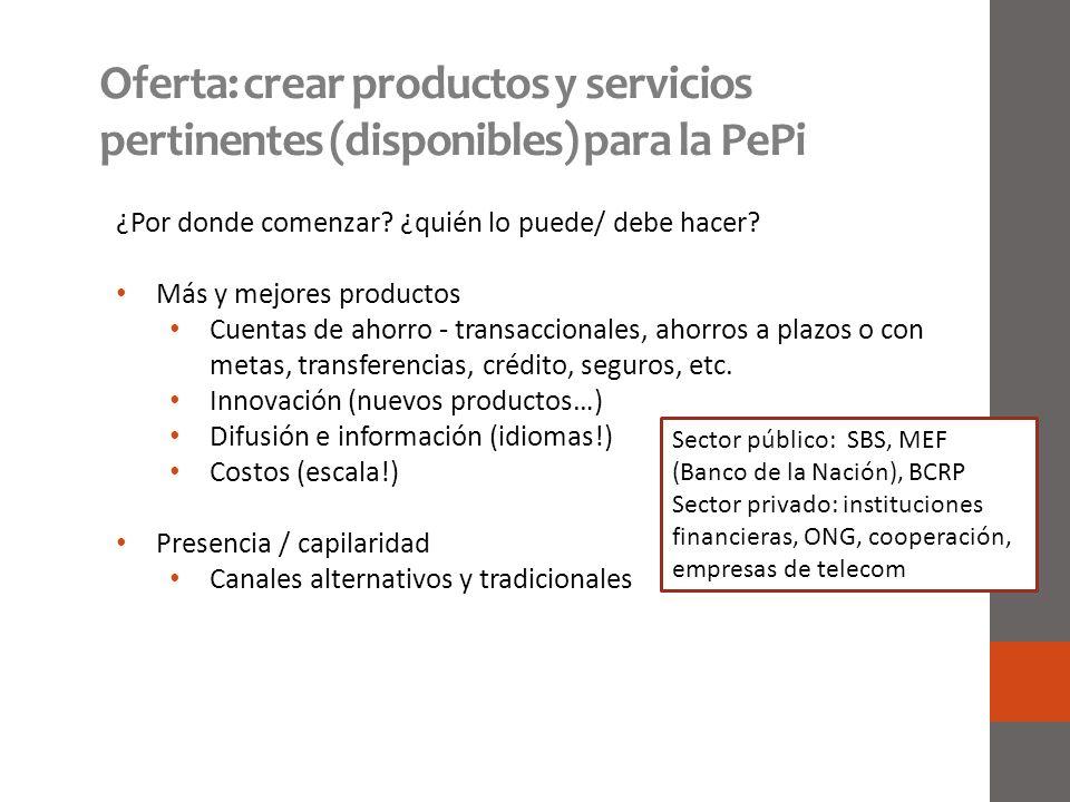 Oferta: crear productos y servicios pertinentes (disponibles) para la PePi