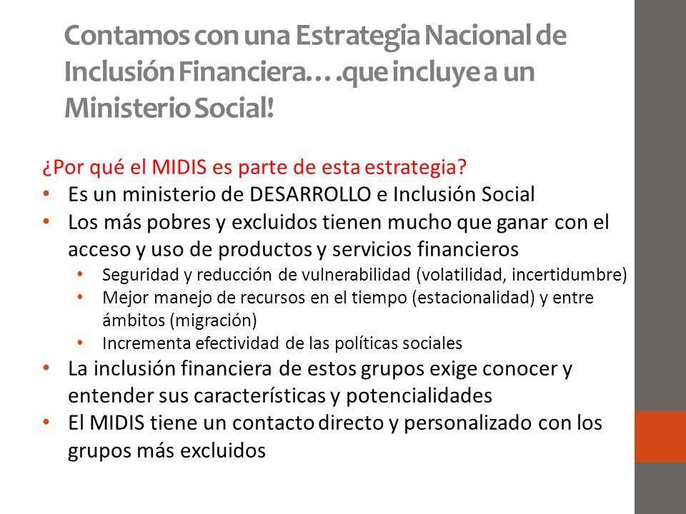 Contamos con una Estrategia Nacional de Inclusión Financiera…