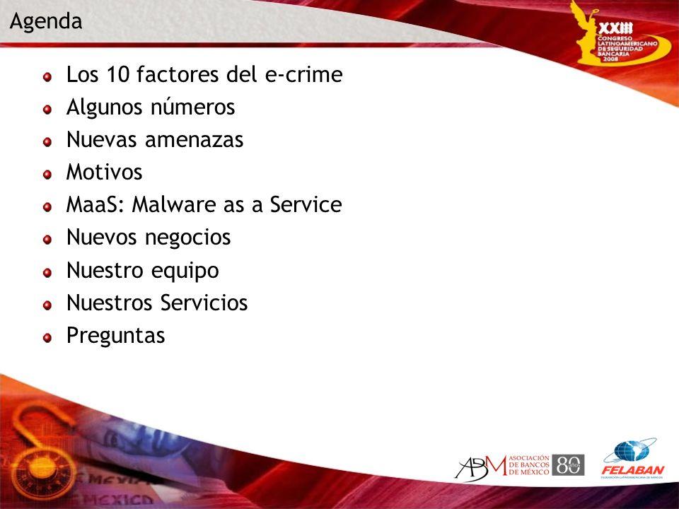 Agenda Los 10 factores del e-crime. Algunos números. Nuevas amenazas. Motivos. MaaS: Malware as a Service.