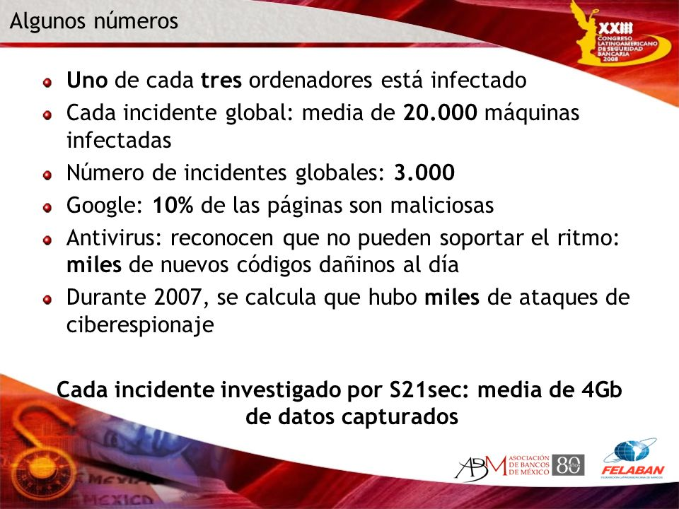 Algunos números Uno de cada tres ordenadores está infectado. Cada incidente global: media de 20.000 máquinas infectadas.
