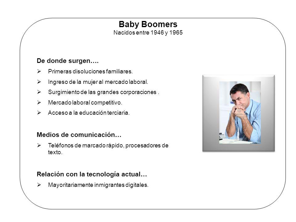 Baby Boomers Nacidos entre 1946 y 1965