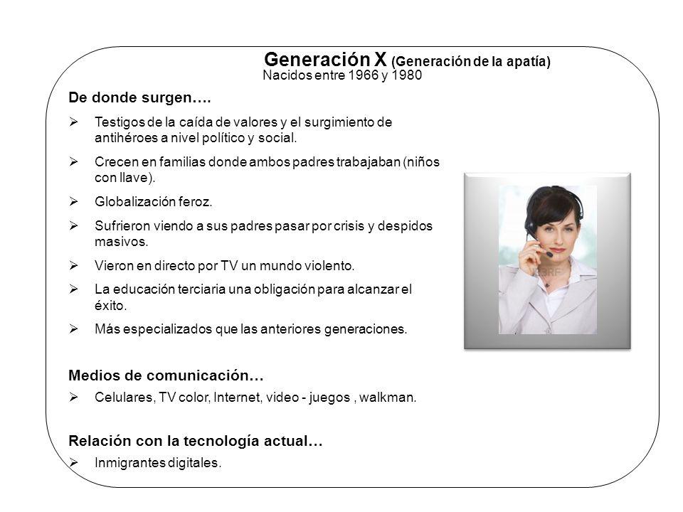 Generación X (Generación de la apatía) Nacidos entre 1966 y 1980