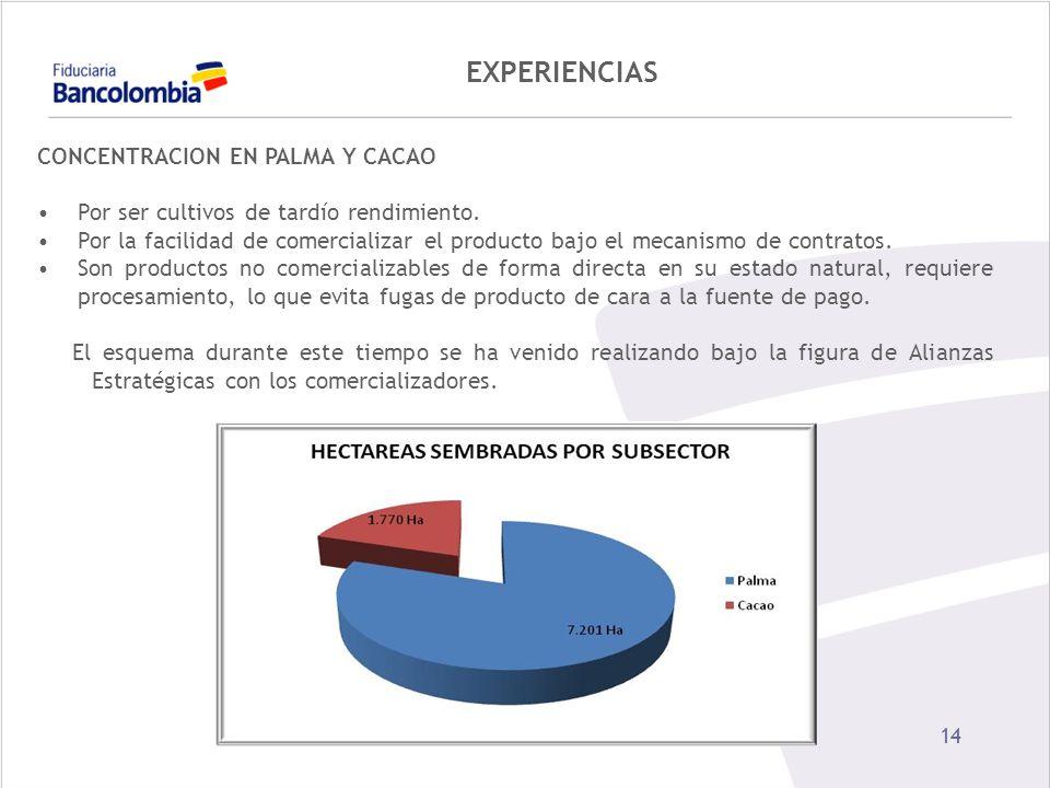EXPERIENCIAS CONCENTRACION EN PALMA Y CACAO