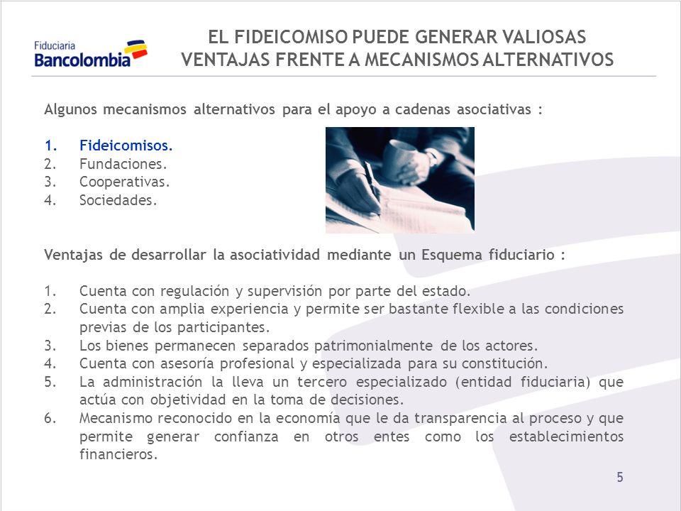 EL FIDEICOMISO PUEDE GENERAR VALIOSAS VENTAJAS FRENTE A MECANISMOS ALTERNATIVOS