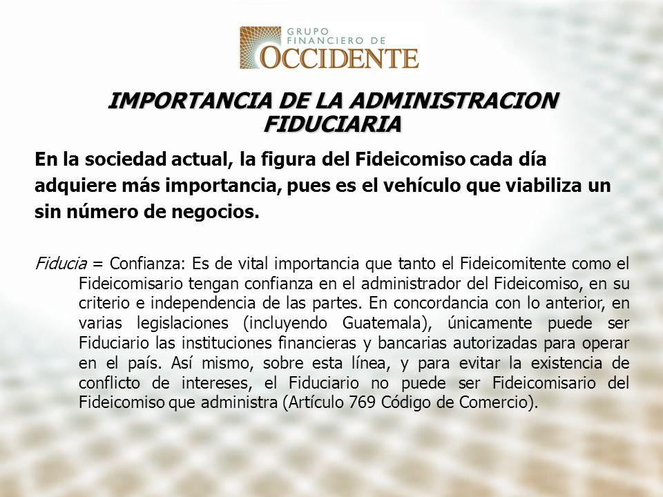IMPORTANCIA DE LA ADMINISTRACION FIDUCIARIA