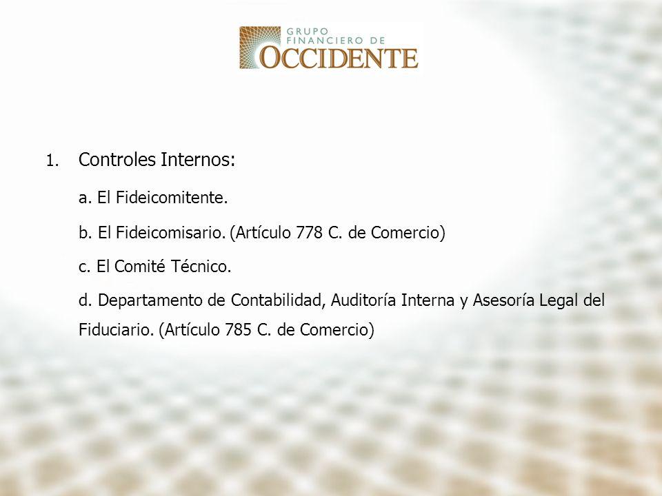 Controles Internos: a. El Fideicomitente.