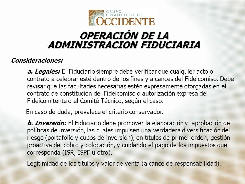 OPERACIÓN DE LA ADMINISTRACION FIDUCIARIA
