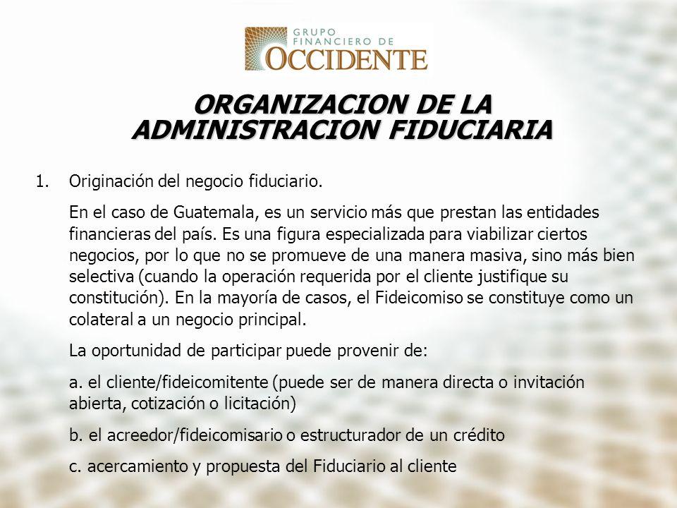 ORGANIZACION DE LA ADMINISTRACION FIDUCIARIA