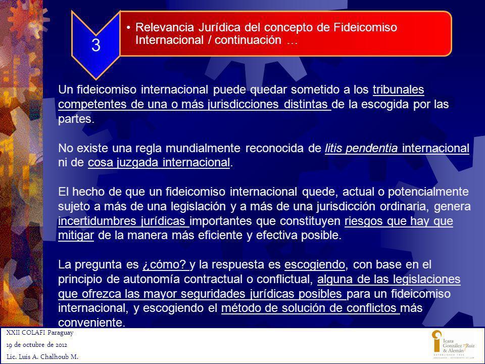 3 Relevancia Jurídica del concepto de Fideicomiso Internacional / continuación …