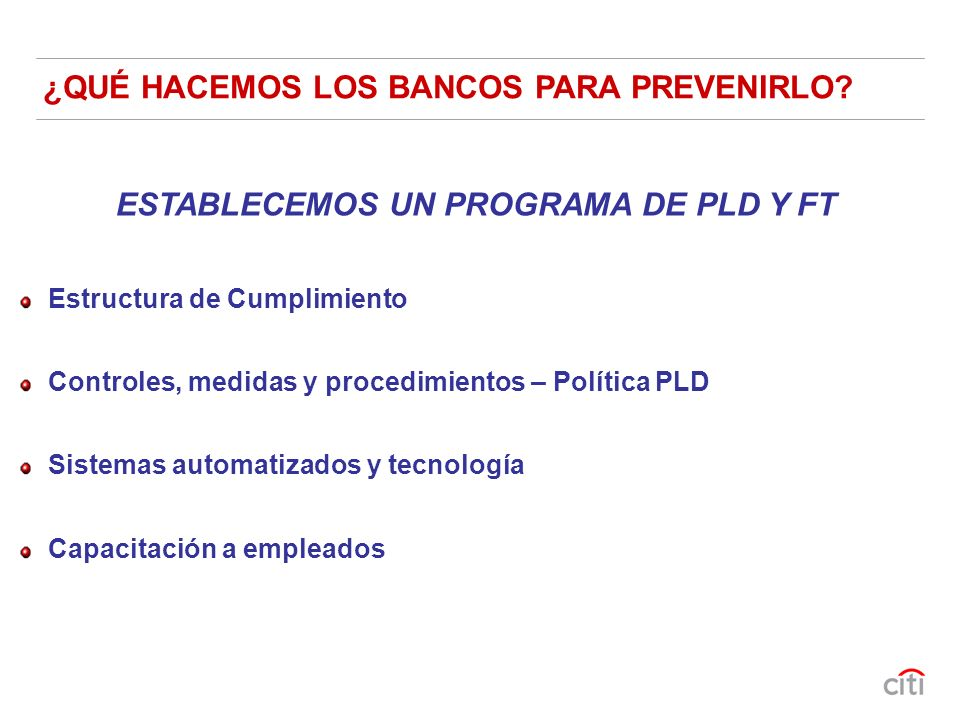 ESTABLECEMOS UN PROGRAMA DE PLD Y FT