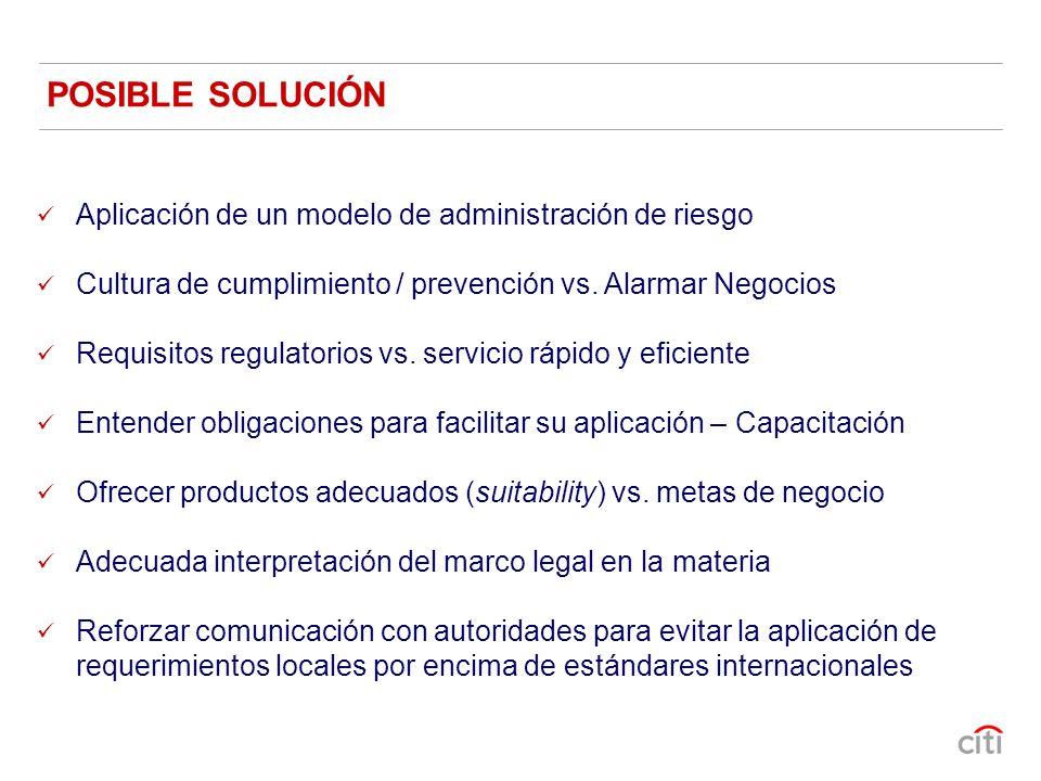 POSIBLE SOLUCIÓN Aplicación de un modelo de administración de riesgo