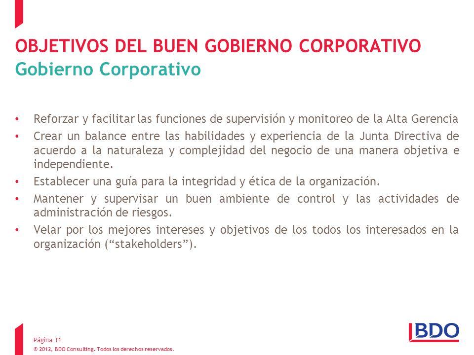 OBJETIVOS DEL BUEN GOBIERNO CORPORATIVO Gobierno Corporativo