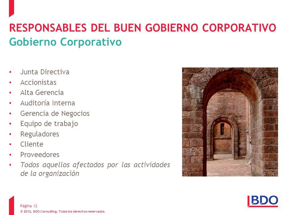 RESPONSABLES DEL BUEN GOBIERNO CORPORATIVO Gobierno Corporativo