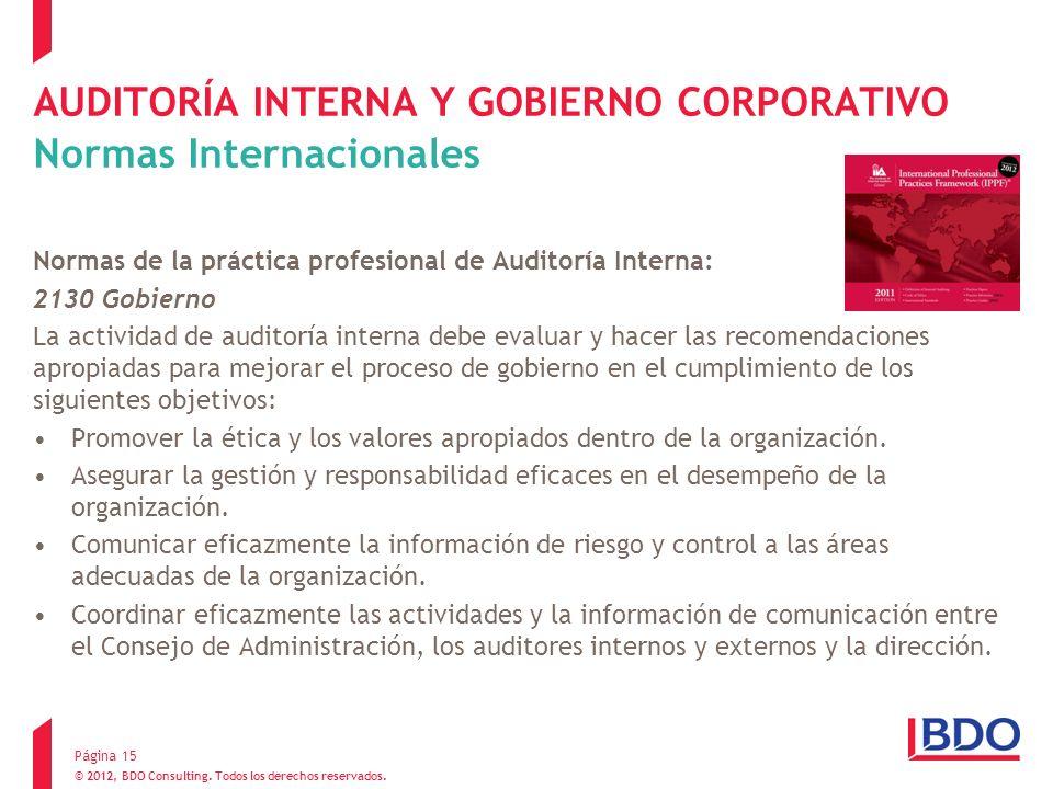AUDITORÍA INTERNA Y GOBIERNO CORPORATIVO Normas Internacionales