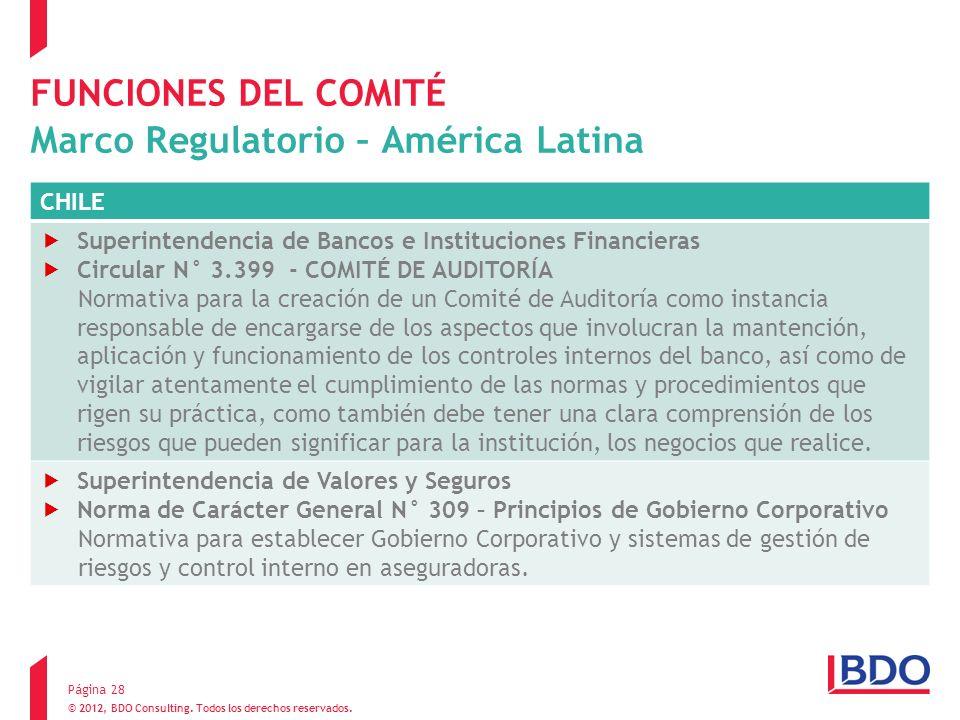FUNCIONES DEL COMITÉ Marco Regulatorio – América Latina