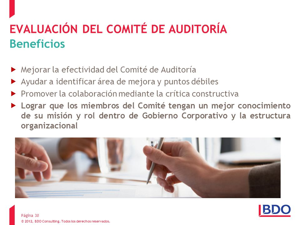 EVALUACIÓN DEL COMITÉ DE AUDITORÍA Beneficios