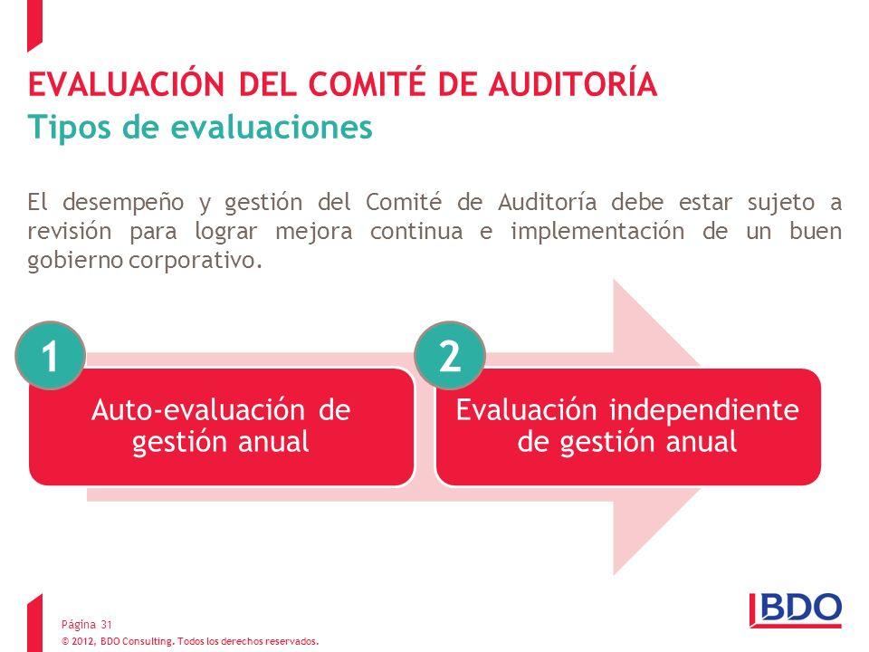 EVALUACIÓN DEL COMITÉ DE AUDITORÍA Tipos de evaluaciones