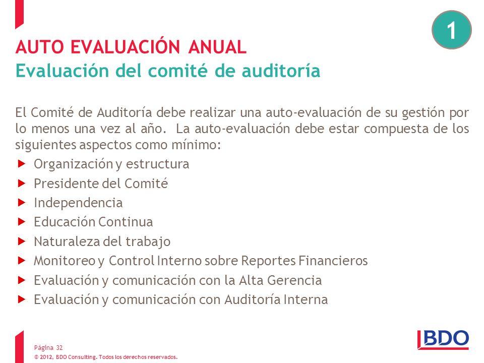 AUTO EVALUACIÓN ANUAL Evaluación del comité de auditoría
