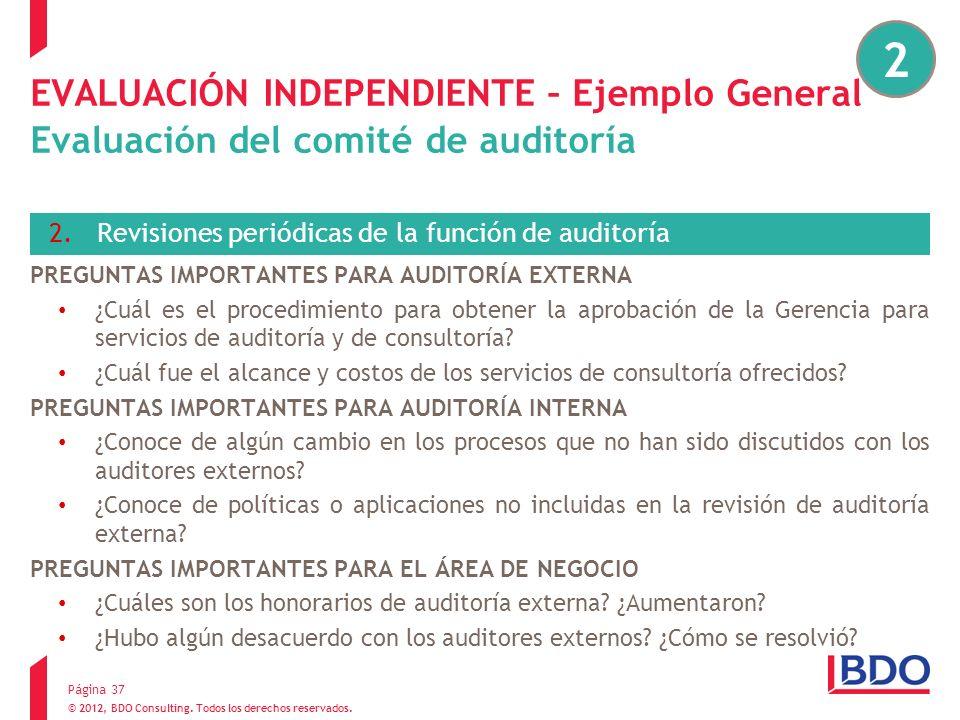 2EVALUACIÓN INDEPENDIENTE – Ejemplo General Evaluación del comité de auditoría. Revisiones periódicas de la función de auditoría.