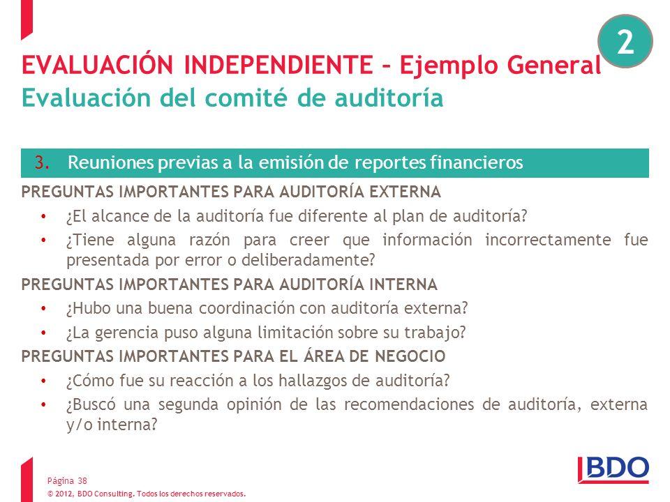 2 EVALUACIÓN INDEPENDIENTE – Ejemplo General Evaluación del comité de auditoría. Reuniones previas a la emisión de reportes financieros.