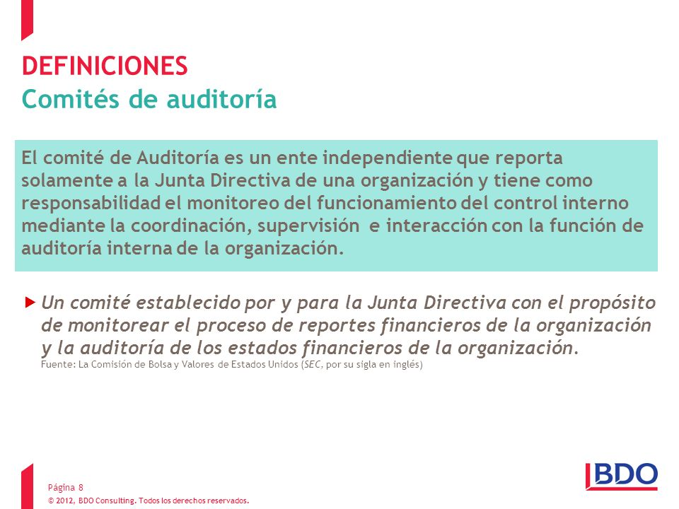 DEFINICIONES Comités de auditoría