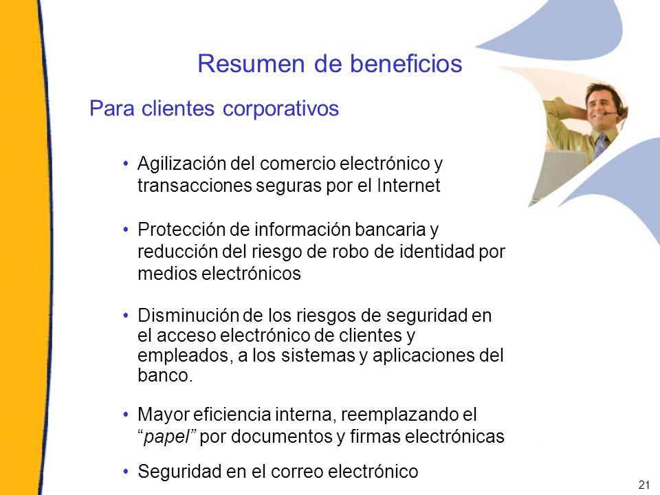 Resumen de beneficios Para clientes corporativos