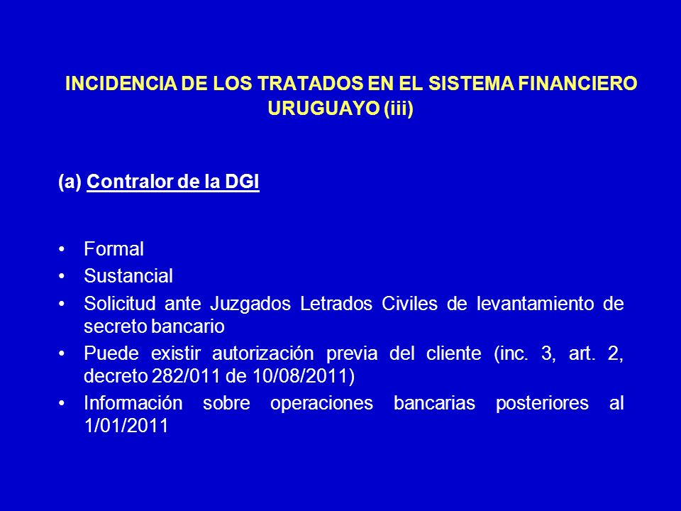 INCIDENCIA DE LOS TRATADOS EN EL SISTEMA FINANCIERO URUGUAYO (iii)