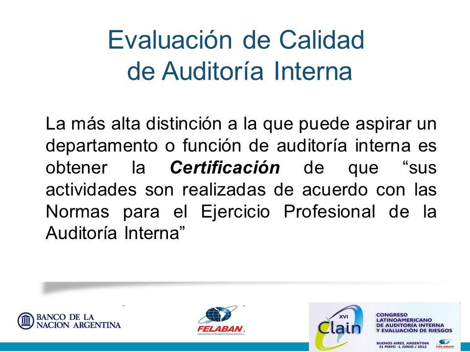 Evaluación de Calidad de Auditoría Interna