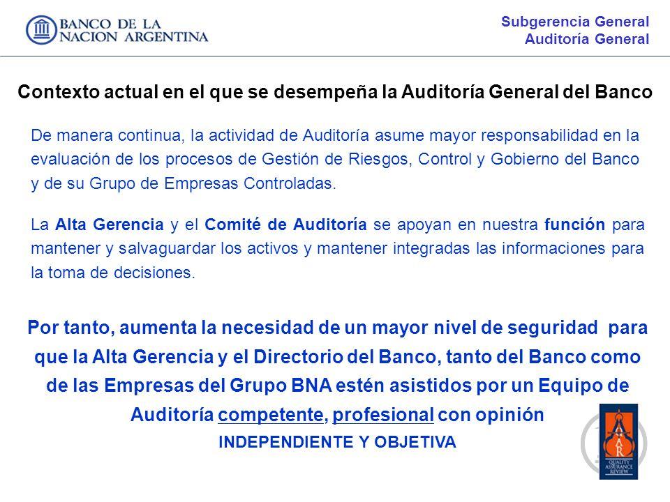 Contexto actual en el que se desempeña la Auditoría General del Banco