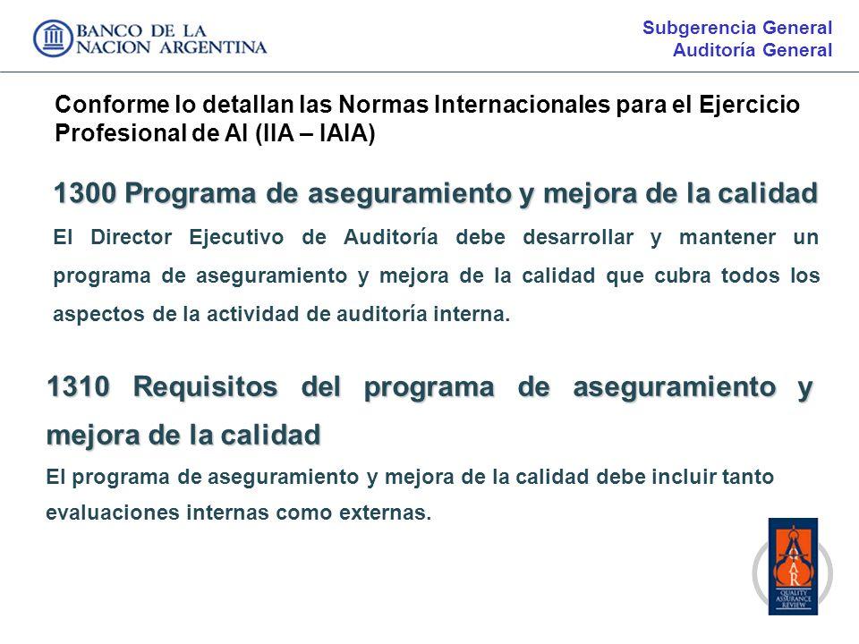 1300 Programa de aseguramiento y mejora de la calidad