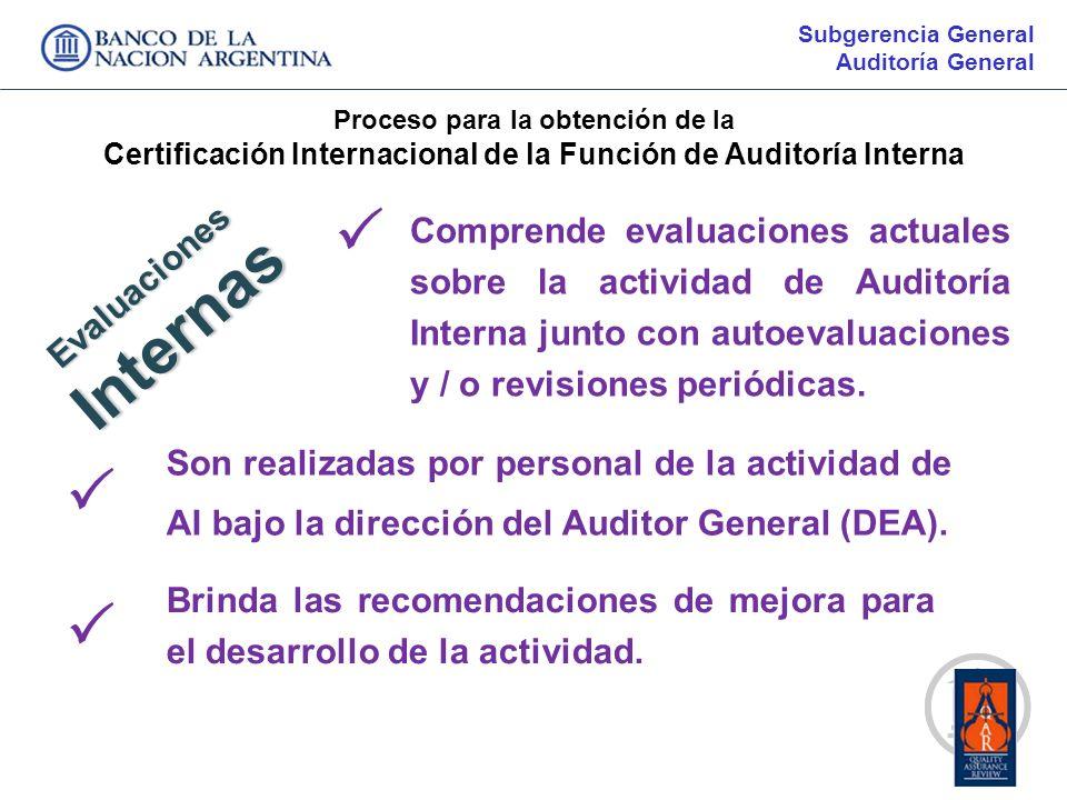 Subgerencia GeneralAuditoría General. Proceso para la obtención de la. Certificación Internacional de la Función de Auditoría Interna.