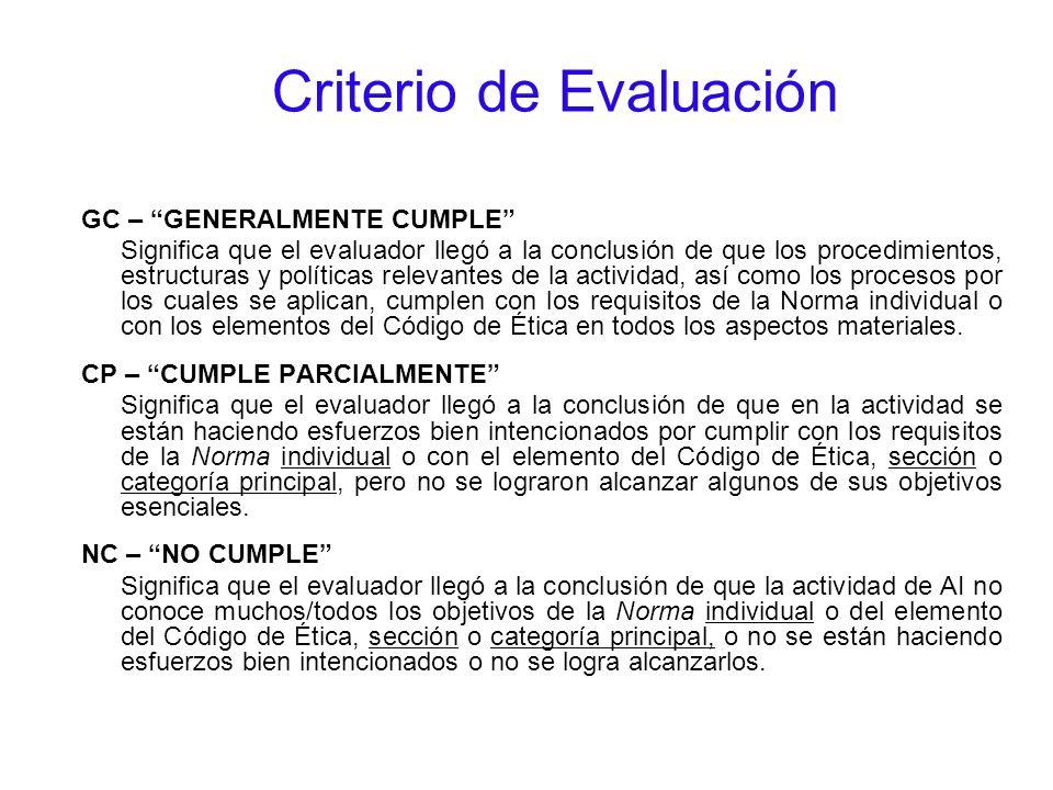 Criterio de Evaluación