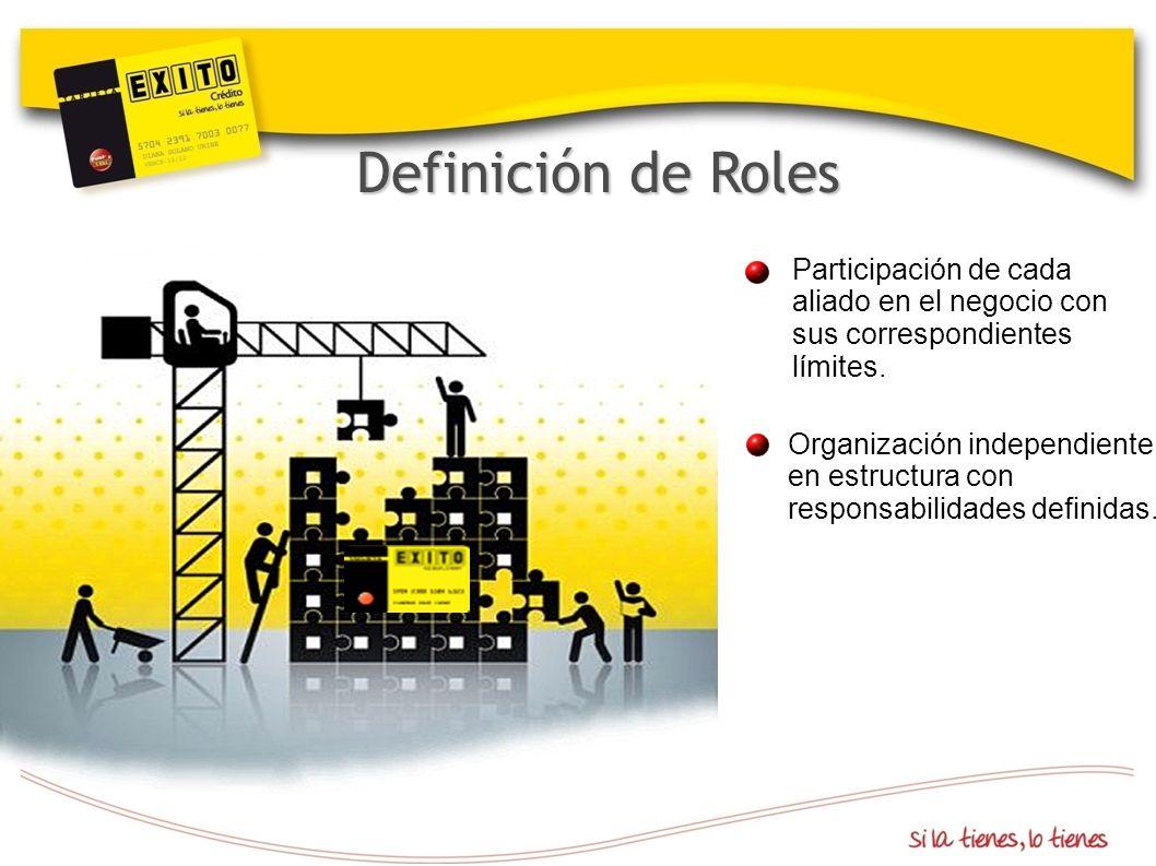 Definición de Roles Participación de cada aliado en el negocio con sus correspondientes límites.