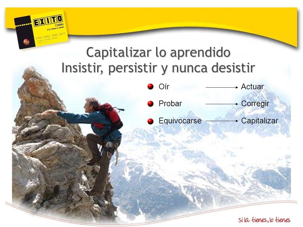 Capitalizar lo aprendido Insistir, persistir y nunca desistir