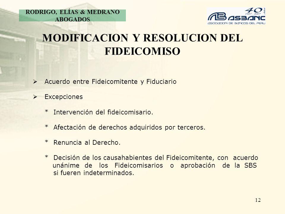 MODIFICACION Y RESOLUCION DEL FIDEICOMISO